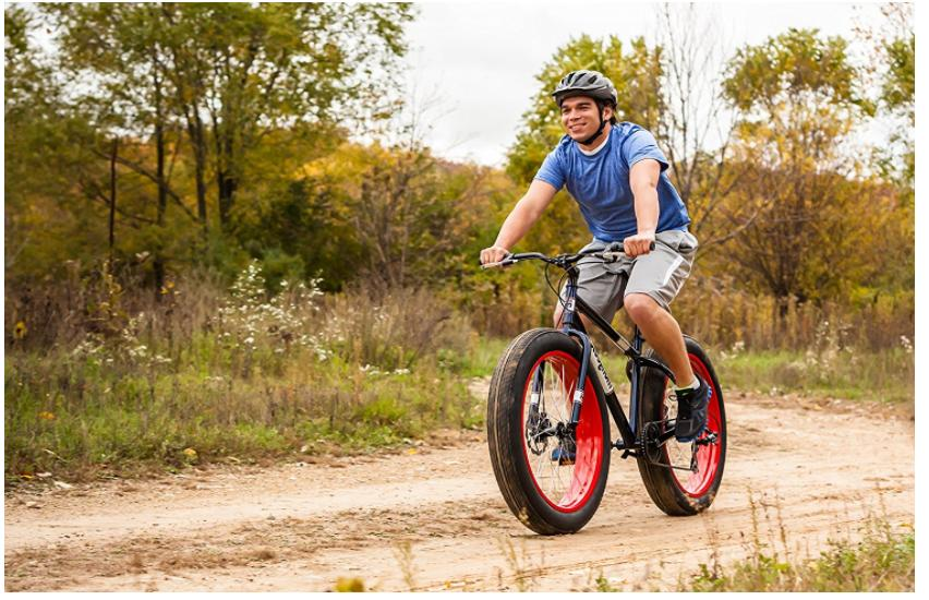 Best 26 Mongoose Dolomite Mens 7-Speed Fat Tire Mountain Bike Navy Blue Red