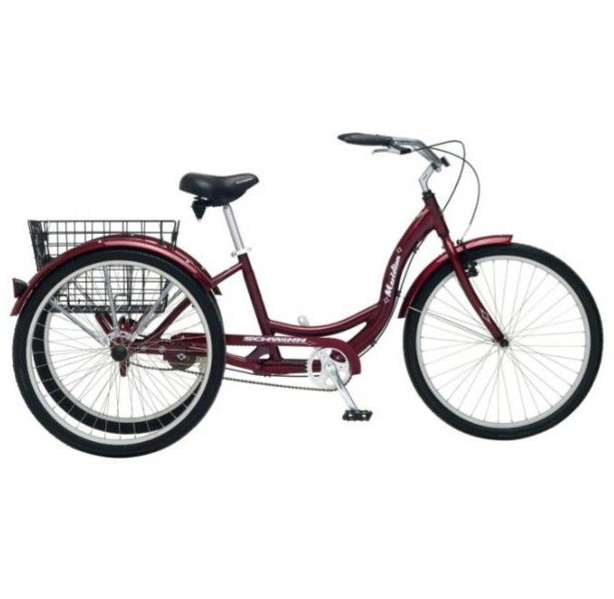 Black Cherry Single Speed Adult 3 Wheel Cruiser Bike Tricycl