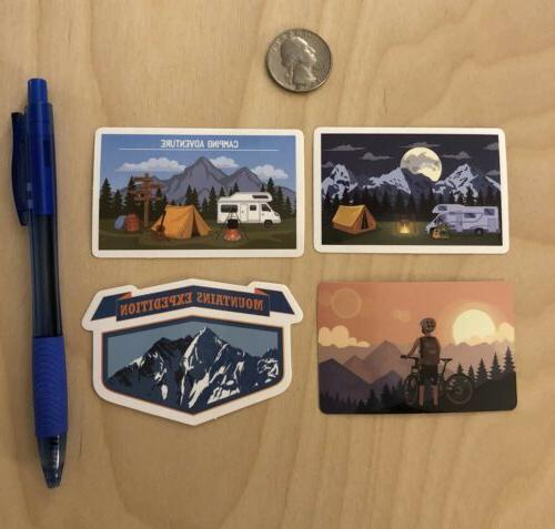 camping stickers hiking mountains climbing tent