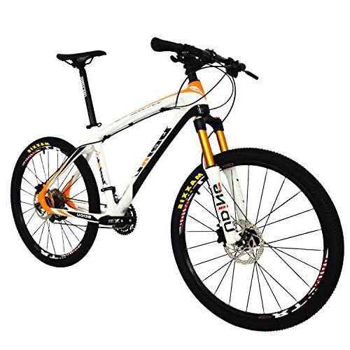 BEIOU Fiber Mountain Bike MTB M610 DEORE Speed Ultralight 10.8 kg RT 26 Professional External Cable Routing Orange CB005