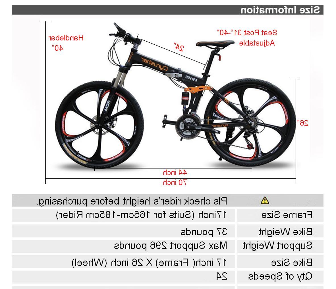 Cyrusher Folding Bike FR100 Speeds Suspension MTB