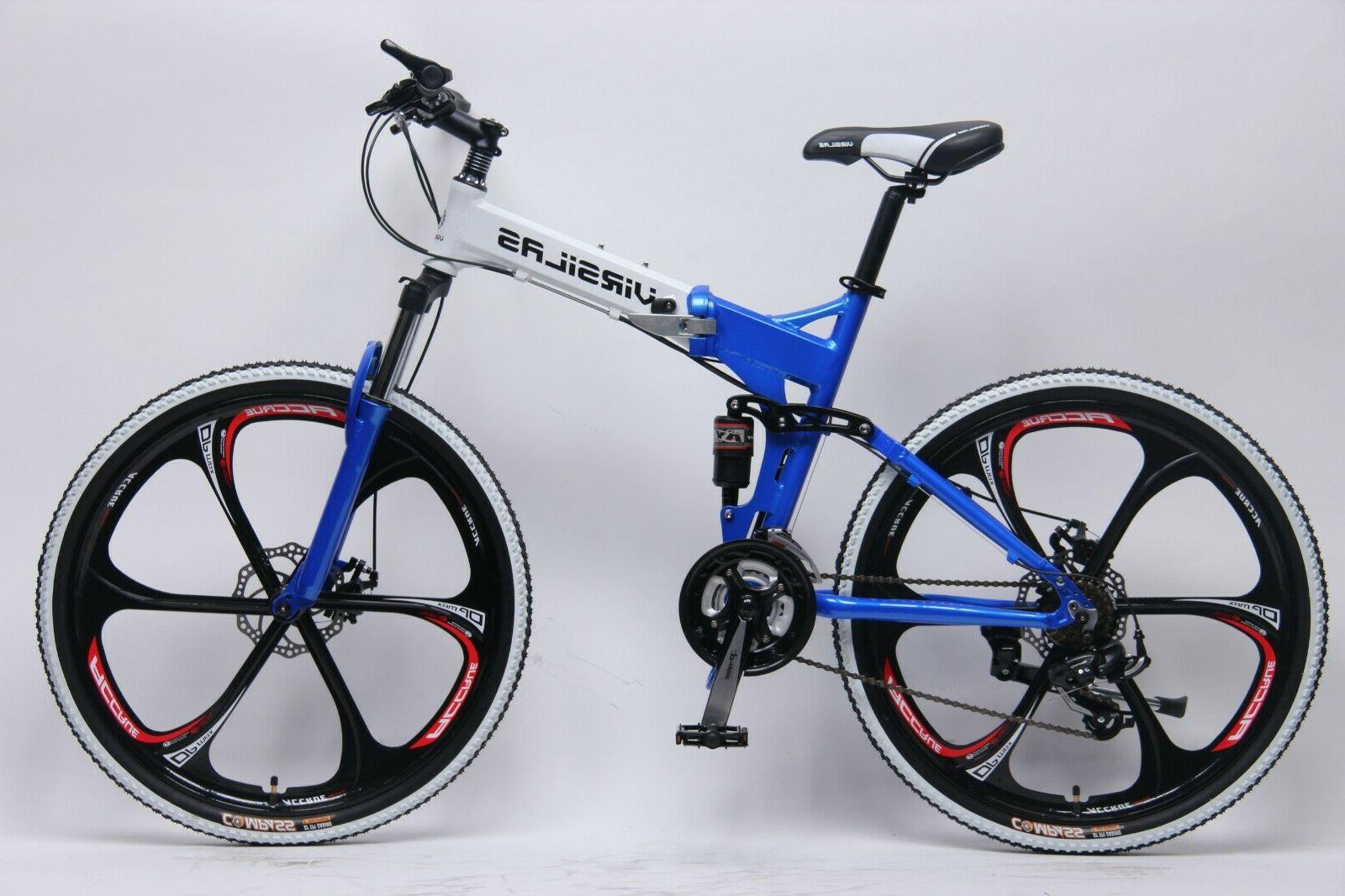 FOLDING MOUNTAIN BIKE SHIMANO 21 SUSPENSION 26x18