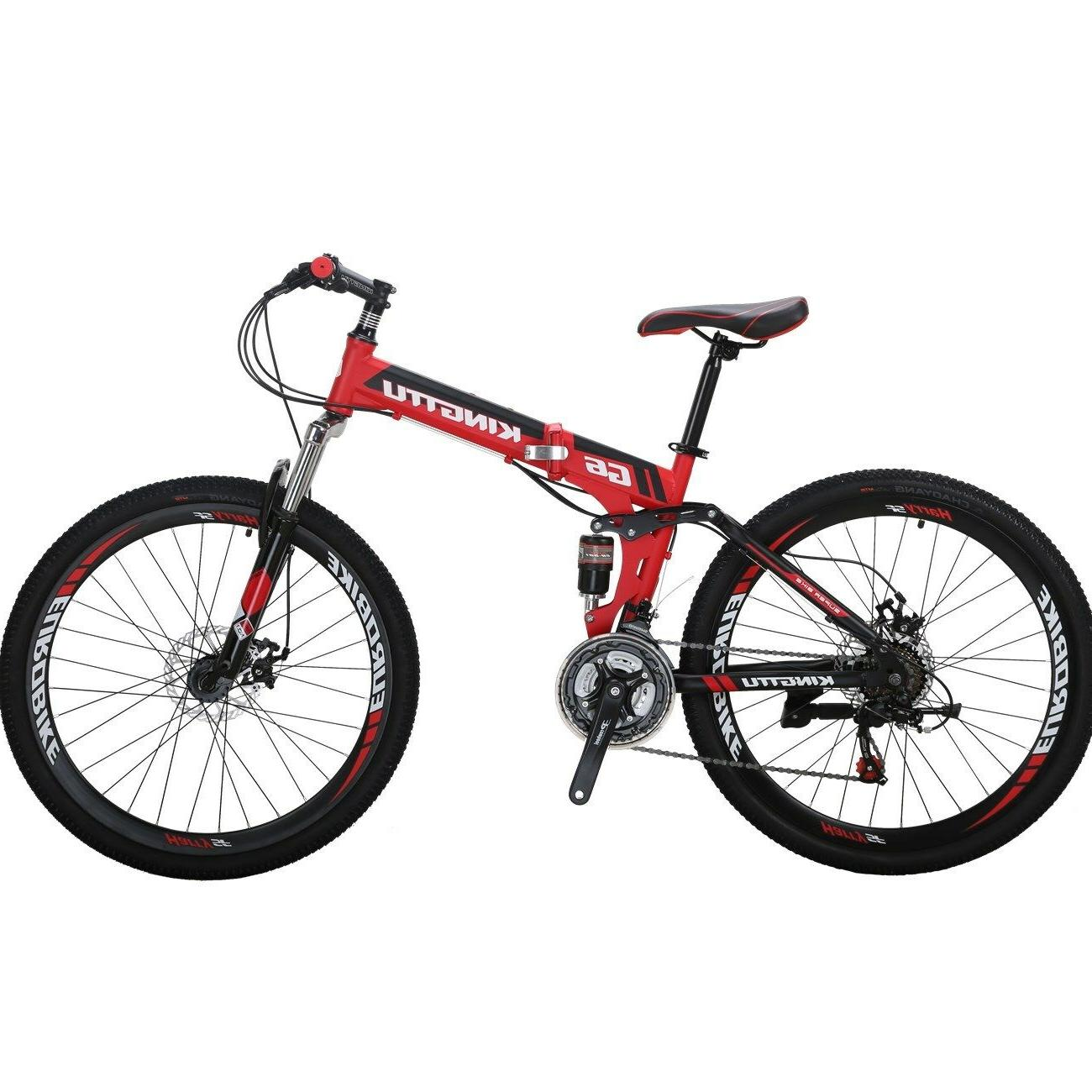 "Kingttu 26"" Full Suspension Folding Mountain Bike  Bikes 21"