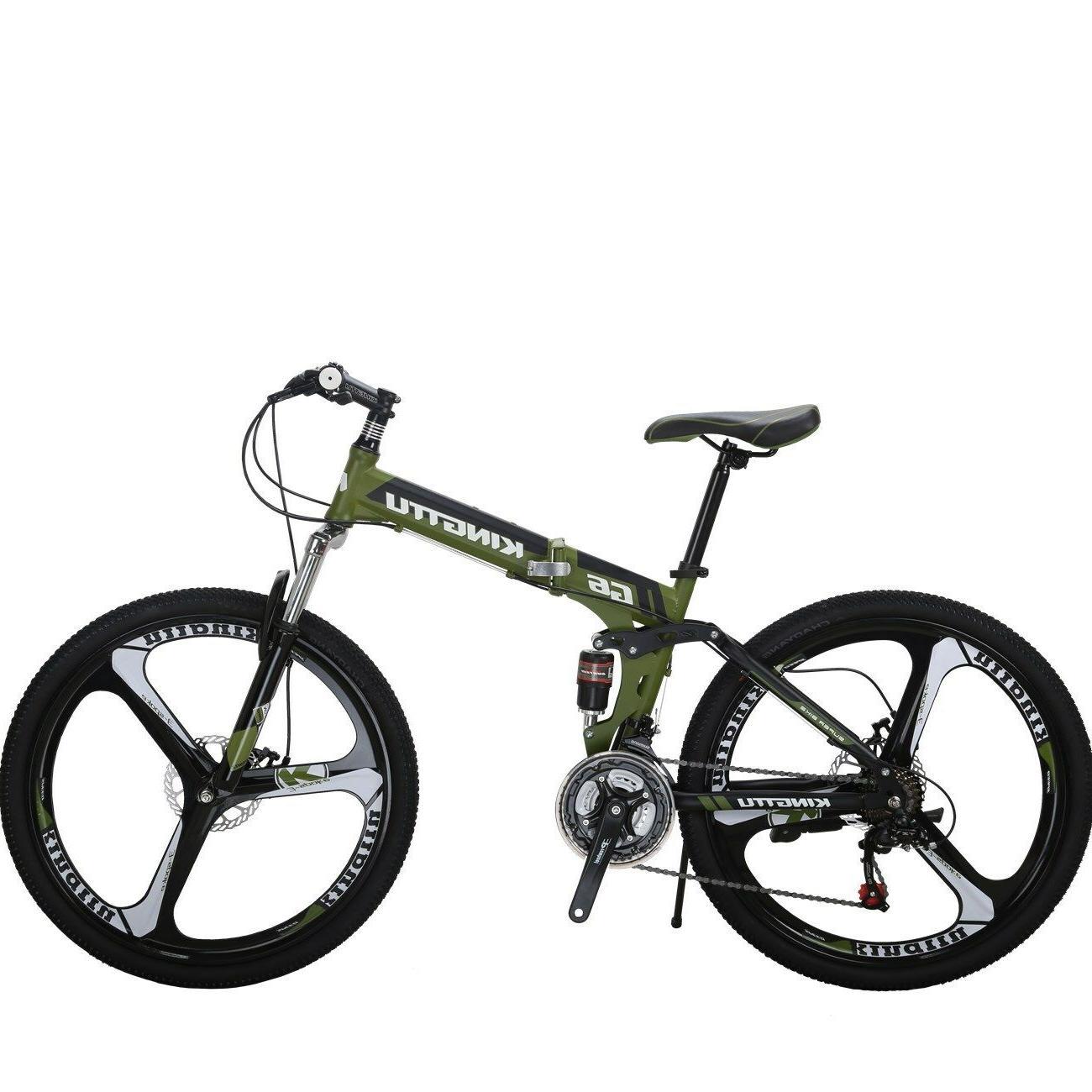 """G6 Mountain Bike 26"""" 3 Spoke Wheel Full Suspension Folding 21 Speed Bicycle"""