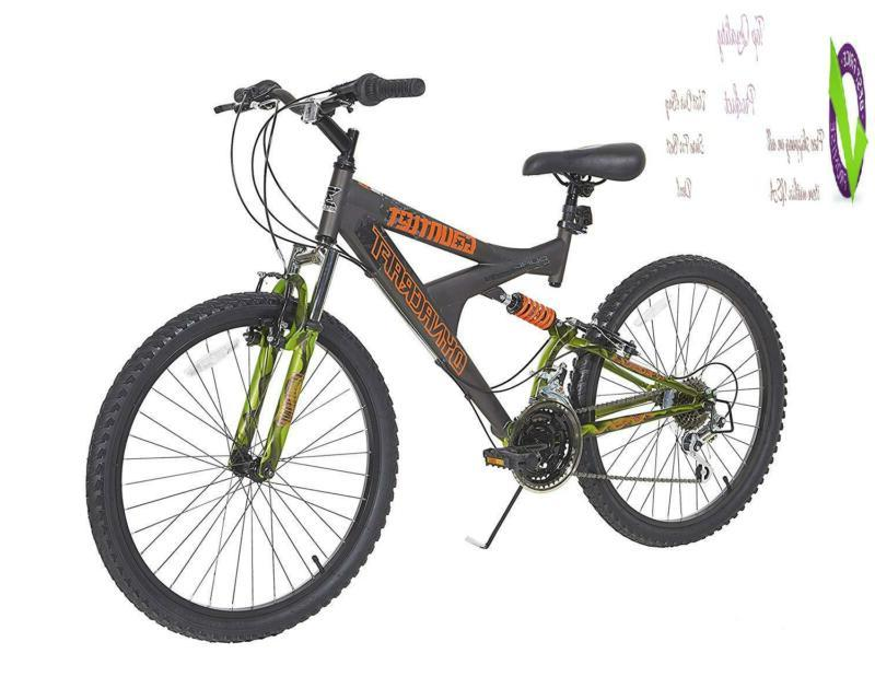gauntlet boys dual suspension 21 speed bike