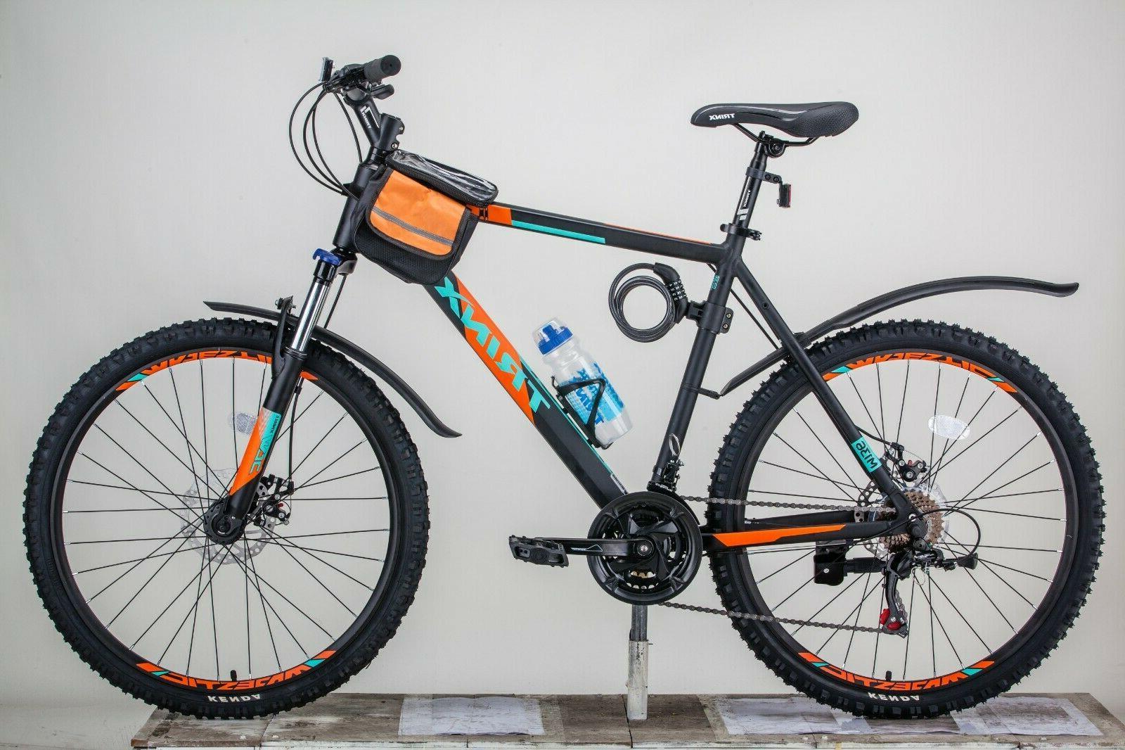 """Mountain Bike 26/"""" Shimano 21-Speed with Mudguard,Bottle Saddle Bag,Lock,Tool."""