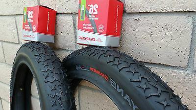 "Pair of 26""x4.0 FAT Bicycle Tires & Tubes Beach Cruiser Bike"