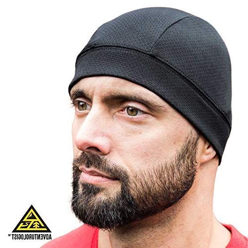skull cap black a helmet