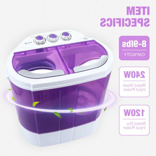 Mini Portable Washing Machine 10lbs Compact Washer Spin Drye