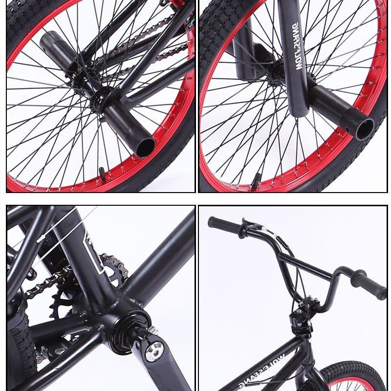wolf's 20Inch steel frame Performance <font><b>Bike</b></font> purple/red tire show Stunt Acrobatic <font><b>Bike</b></font> rear Fancy