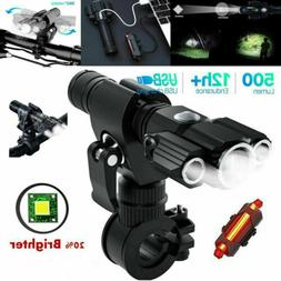 LED Bicycle Headlight Mountain Bike Front Lamp Rear light Re