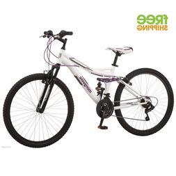 "26"" Mongoose Ledge 2.1 Women's Mountain Bike, White/Purple"
