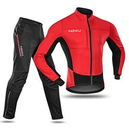 Lixada Men's Cycling Jersey Suit Waterproof Thermal Fleece L