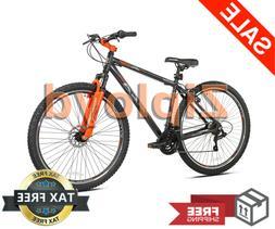 Mens Mountain Bike 29 Aluminum 21 Speed Bicycle Gray/Orange
