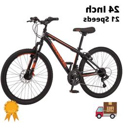 Mongoose Mountain Bike 24 Inch Boys 21 Speeds Trail Ride Bic