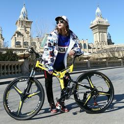 Mountain Bike 26-Inch Steel 21-Speed Bicycles Dual Disc Brak
