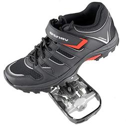 Venzo Mountain Bike Bicycle Cycling Shimano SPD Shoes + Peda