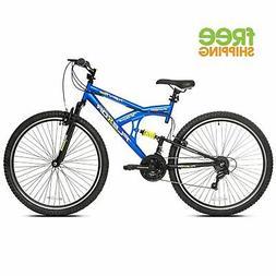 "Kent Mountain Bike Blue 29"" Men 21 Speed Dual Suspension Spo"