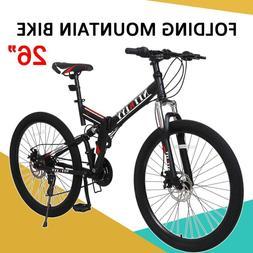"""New 26"""" 21 Speed Folding Full Suspension Mountain Bike Men's"""