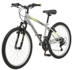 "Roadmaster Granite Peak 24"" Boy's Mountain Bike, Silver/Gree"