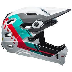 Bell Super DH MIPS Bike Helmet - Matte White/Emerald/Hibiscu
