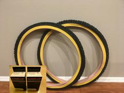 """Two  Deli Mountain Bicycle Tires 26""""x2.00"""" Black / Gum Wall"""