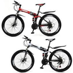 """Unisex Adult Mountain Bike Full Suspension 26"""" 21 Speed MTB"""