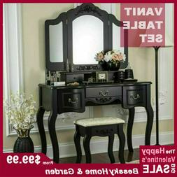 Vanity Makeup Dressing Table Set 5 Drawers 3 Mirrors With St