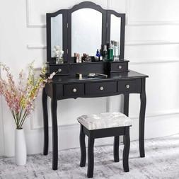 Vanity Set Vanity Makeup Desk 3 Mirrors 5 Drawers Dressing T